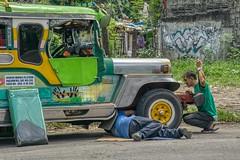 Running Repairs (Beegee49) Tags: street jeepney broken repairs men fixing public transport panasonic fz1000 bacolod city philippines asia happyplanet asiafavorites