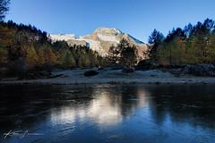 France-Tarentaise-Le Monal-Sunrise automniale (Kwen Lr photographies) Tags: canon 1100d automne monal tarentaise montagne reflection reflet miroir glace étang alpes france hiver couleur mountain sunrise