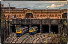 Meridians (Peter Leigh50) Tags: station bridge road railway railroad rail cutting brick wall building sky leicester london midland east train emt meridian track trains fujifilm fuji xt2