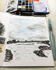 A sketch of the view from the upstairs windows of London Wetlands Centre drawn from a photo I took at the wedding celebration of @frizzy_logic and @neotoma_magister last year. #10minsbeforebed #sketch #penandink #watercolour #urbansketching #urbansketch #