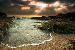 Horseley Cove (Mark Leader) Tags: canvas art print poster wall hanging horseley cove south devon coast coastal sea seascape landscape sunbeams clouds dramatic sky drama rocks waves shore beach rock