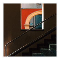 Diagonal and Spysquare (Thomas Listl) Tags: thomaslistl color stairs staircase diagonal lines square window arch red bow layers geometry geometric urban graphical 50mm