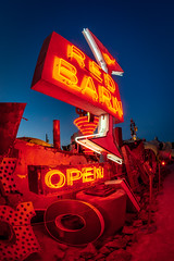 Red Barn (atenpo) Tags: us95 las vegas nevada nv neon lights signs museum boneyard red barn desert glitter gulch