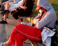 Sunset Daydream (HereInVancouver) Tags: man outdoors asleep napping daydreams lifeonaparkbench vancouverswestend seawall candid canong9x vancouver bc canada urban city hoodie