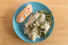 Salmon with rice and green beans on a blue plate (verchmarco) Tags: diet mealprep food organic natural gesund fresh healthy abnehmen prepmymeal lebensmittel noperson keineperson delicious köstlich dinner abendessen lunch mittagessen vegetable gemüse cooking kochen health gesundheit nutrition ernährung traditional traditionell rice reis meal mahlzeit wood holz dish gericht bowl schüssel plate teller cuisine fish fisch table tabelle streetart flag cold shop kodak windows downtown happy analog remembrance