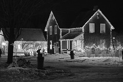 House illuminated with light for Christmas (Classicpixel (Eric Galton) Photography Portfolio) Tags: house home maison demeure noiretblanc noirblanc nb blackandwhite blackwhite bw neige snow winter hiver roof toit fenetre window ericgalton classicpixel nikon 1635mmf4 d800e cumberland ontario canada ottawa lights féérique shadow ombre