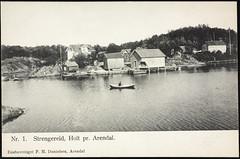 Postkort fra Agder (Avtrykket) Tags: bolighus brygge hus postkort sjekte sjø sjøbod uthus tvedestrand austagder norway nor