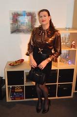 Merry Christmas! (Rikky_Satin) Tags: shiny metallic bow blouse leather skirt pumps handbag pantyhose crossdresser crossdressing transvestite tgirl tgurl gurl sissy christmas