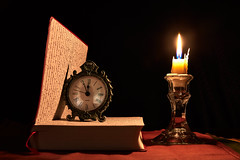 Book, Clock, and a Candle (shotofoot) Tags: stilllife book clock watch candle nikon d500 tamron2470