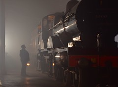 Midland Railway Johnson 4-4-0 Compound No.1000 of 1902 in the foggy gloom of Barrow Hill Roundhouse 07 11 2018 Timeline Events (pnb511) Tags: barrowhillroundhouse train track loco workshop maintenance depot locomotives mpd heritage railway steam industrial britain timelineevents engine locomotive dirt grime wet reflection dark night