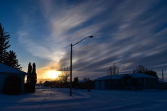 Blue sunset on a cold winter day (darletts56) Tags: sky blue grey cloud clouds wind windy cold sun sunset tree trees lamp pole post poles wire wires line lines snow white shine shining yellow gold golden home homes house houses vehicle vehicles road highway prairie dusk village silhouette