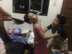 the giant tries to get my sister I need to save her (ghostgirl_Annver) Tags: asia asian kids children giant save brother sister fear