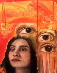 Orange oil painting (brittanyzamo) Tags: oilpainting oil painting fluid fluidpainting paint pour pouring eyes portrait portraiture acrylic mixed media mixedmedia abstract weird lowbrow impressionism realism