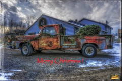 Festive Mood (* Gemini-6 *) Tags: truck pickup ornaments christmas sky clouds hdr vehicle transportation rust patina gmc hss