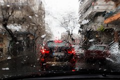 Snow is falling (kyrsos.) Tags: 2019 outdoor road tree snow windscreen car wet rain winter cold weather
