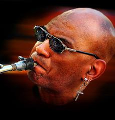 (daystar297) Tags: streetportrait portrait musician music jazz blues performer performance saxophone sax horn nikon nyc washingtonsquarepark sunglasses earing