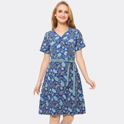HEMAT anakara dress batik- kimo dress maviya- biru - biru xl