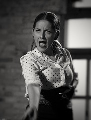 ¡Olé! Like Carmen, from Prosper Merimée (marisabosqued) Tags: retrato portrait mujer woman bailaora flamenco bn bw monocromo monochrome canon100f2 snapseed