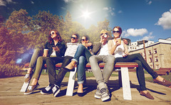 group of students or teenagers drinking coffee (nithiyabhaskar) Tags: campus park happy friends drinking coffee smartphone group teenagers students drinks cups paper takeaway disposable hot beverages education college school girls boys young women men mates lifestyle summer beautiful smiling people person outdoors together chilling hanging out friendship girlfriend boyfriend teenage sunglasses shades gadget app application technology cell mobile phone estonia