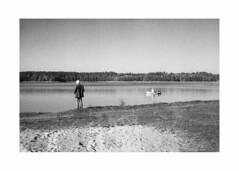 *** (Gediminas Bernotas) Tags: fomapan400 kodakhc110 hdilution push iso800 voigtlander bessar jupiter8 poland augustów lake boat man shore fishing filmphotography blackwhite