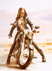 Harley 8 (Mr Action Figure) Tags: 16scale 16 phicen tbleague seamless seamlessfigure female femalefigure brunette harleydavidson biker bike leather leatherjacket black sunglasses boots desert helmet sun sexy topless hottoys verycooltoys doll toy dogtags highway chrome