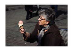 'It was supposed to be Strawberry!' (Thomas Listl) Tags: thomaslistl color street urbanlife urban human humanity people ice icecream enjoyment woman bench city portrait