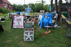 """USA Detroit Michigan east side Heidelberg Project lawn featuring cool junk-art - """"Blue Dot Special"""" (2) (moreska) Tags: usa detroit michigan eastside heidelberg project retro oldschool tube tv fan clock analogue blue housing structures architecture lawn castoffs repurposing travel tourism wayne county motor city us north america"""