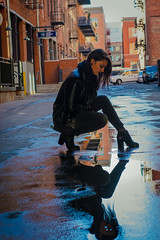 (Space_Piracy) Tags: denver city women nikon amature reflection alley water puddle