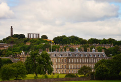 Edinburgh (angelsgermain) Tags: city view palace holyroodhouse building architecture garden monuments caltonhill nationalmonument nelsonmonument history unescoworldheritagesite sky clouds trees green edinburgh scotland