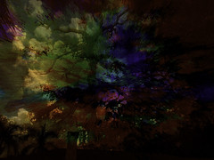 A Stormy Night (soniaadammurray - On & Off) Tags: digitalphotography manipulated experimental collage picmonkey abstract storm nighttime trees sky movement nature roof exterior artchallenge hss sliderssunday
