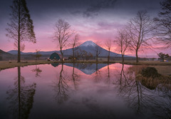 Reflections of Fuji (Iurie Belegurschi www.iceland-photo-tours.com) Tags: mountain mount fuji mt mtfuji mountfuji japan japanese landoftherisingsun asia asian exotic oriental sunrise sunset trees water snowcapped house cabin adventure daytours dreamscape earth enchanting fineart fineartlandscape fineartphotography fineartphotos guidedphotographyworkshops guidedphotographytour icelandphototours iuriebelegurschi landscape landscapephotography landscapephoto landscapes landscapephotos longexposure nature outdoor outdoors phototours phototour tranquil reflection serene sky travel tours travelphotography tutorials view workshop workshops pink