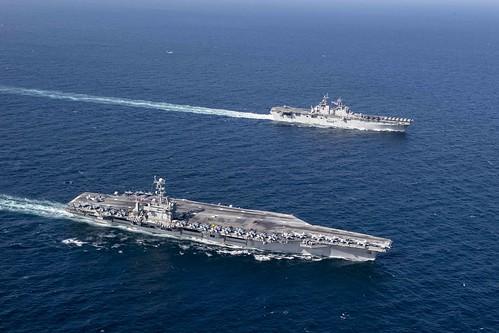 USS John C. Stennis and USS Essex underway