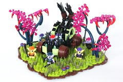 CCC XVI: Goblin's Rain of Death (-soccerkid6) Tags: lego moc creation castle medieval elves goblins siege engine working functional catapult spear thrower landscape fantasy tree weapon