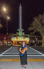 Me in Front of the Alex Theater (SCSQ4) Tags: alextheater california christineho concert faso faso10thanniversaryconcert filipinoamericansymphonyorchestra gig glendale lights night nightphotography street violin violinist wideangle