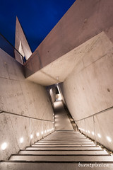 Holocaust Memorial Monument 1 (burntpixel.ca) Tags: canada ontario ottawa photo photograph urban fine art patrick mcneill burntpixel sony a7r2 a7rii sonya7r2 holocaust monument sculpture statue architecture blue bluehour angles concrete memorial evening night diagonal stairs lights pathway