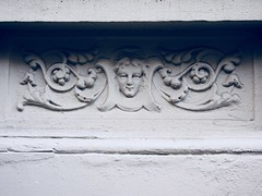 Girls Face Gargoyle on Building Facade 4781 (Brechtbug) Tags: girls face gargoyle building facade 25th street between 7th 8th avenues nyc 07282014 new york city midtown manhattan 2014 gargoyles portraits monster portrait monsters creature faces spooky art architecture sculpture keystone mask brownstone brown stone girl female