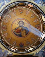 Sunlit painting of Jesus Christ on done of Church of the Holy Sepulchre in Jerusalem (chrisdingsdale) Tags: jesuschrist churchoftheholysepulchre dome cupola sunlit ray beam face painting icon fresco mural christianity temple circle circular god religion religious christian jerusalem israel catholic orthodox shrine historical history architecture architectural indoor old light lit spot savior worship tomb saints resurrection city windows