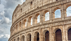 Roman Coliseum Up Close (gmsphoto) Tags: rome italy coliseum historical wallart structure creativity craftsmanship ancient old vintage architecture details clouds change art contrast excellence icon international repetition skill strength photograph wwwgaryslawskyartcom
