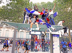 Paris (kirstiecat) Tags: paris france people strangers worldcup football soccer sports celebration happiness victory europe street canon exhilaration friends