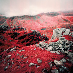 Cloud on Great Gable (Mark Rowell) Tags: infrared ir eir aerochrome kodak hasselblad 903 swc 6x6 120 mediumformat greatgable greatend styheadtarn lakedistrict uk expired film