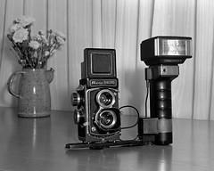 Ricoh Diacord TLR (Howard Sandler (film photos)) Tags: ricohdiacord tlr camera cameraporn metz 45ct5 flash flashbulb graflex crowngraphic largeformat 4x5 film blackandwhite hp5