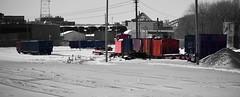 maintenance of way (David Sebben) Tags: maintenance equipment iowa interstate railroad snow winter rockisland illinois selective color