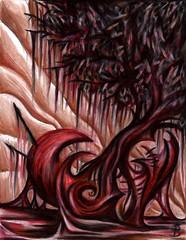 the seeds of a broken heart (Skyler Brown Art) Tags: angst art artwork brokenheart coloredpencil creepy dark darkness depressing drawing emotional gothic heart heartbreak intense love macabre paper red sad surreal tree trees