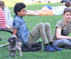IMG_0462 (Skinny Guy Lover) Tags: outdoor people candid guy man male dude denimjacket grass field sitting sit seated group youth dog handsome