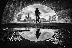 Cycliste (Mustafa Selcuk) Tags: 2019 paris fujifilm velo bike bicycle biker blackandwhite bnw bw noiretblanc noiretblancphotographie monochrome monochromatic pontdelatournelle bridge underbridge reflection reflections reflexion parisienne lafemme woman street streetphotography photosdesrues