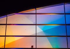 rainbow girl (miemo) Tags: europe finland abstract architecture art colors em5mkii exterior helsinki kiasma lights luxhelsinki minimalism night olympus olympus60mmf28 omd person telephoto window winter uusimaa fi