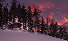 Cabin under the burning sky (marvinneubugrer) Tags: winterscape snowscape landscape winter snow snowcapped steiermark austria kindberg canon1635 sonya7 cabin sunset sky