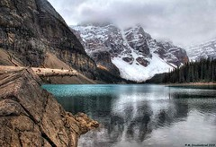 Moraine Lake, Banff National Park, Alberta Canada (PhotosToArtByMike) Tags: morainelake banff banffnationalpark valleyofthetenpeaks canadianrockies albertacanada mountain mountains emeraldlake tenpeaks bluegreen turquoisecoloredwater