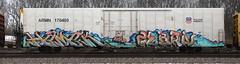 Hamek/Zebra (quiet-silence) Tags: graffiti graff freight fr8 train railroad railcar art hamek zebra war armn reefer unionpacific armn170480