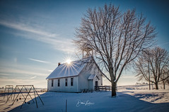 Emeline Schoolhouse (Dawn Loehr Photography) Tags: dawnloehrphotography school schoolhouse iowa canon5dmarkiv landscape landscapephotography sunburst blue snow sky trees